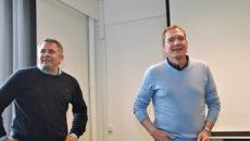 Fra præsentationen af projektet. T.v. ses næstformand Lars Strandby sammen med formand Niels Brinch.