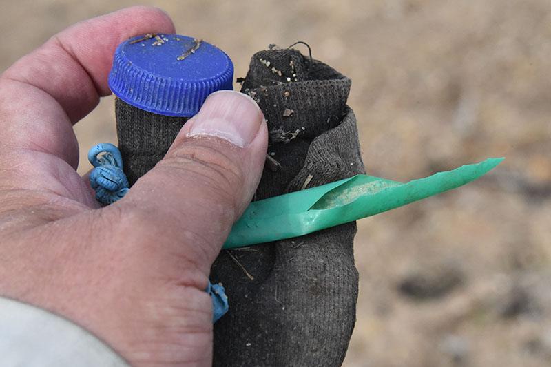 Lidt plastik og en gammel sok. Man kan finde lidt af hvert på stranden.