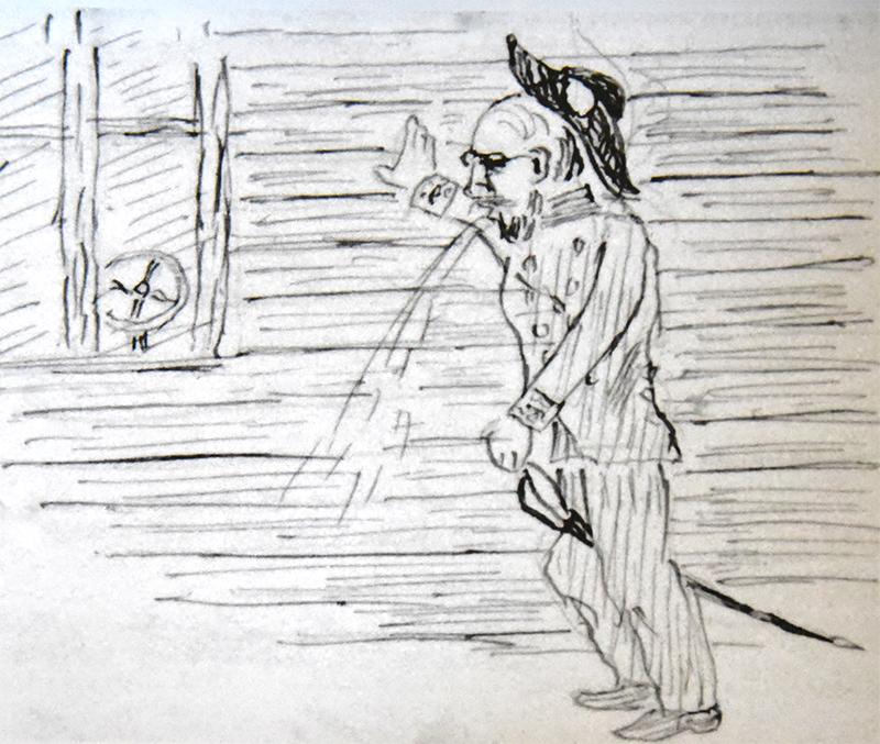 Frans Buchs tegning af stationsforstander Bruhn i den uheldige situation, da byen tog afsked med Kronprins Frederik.