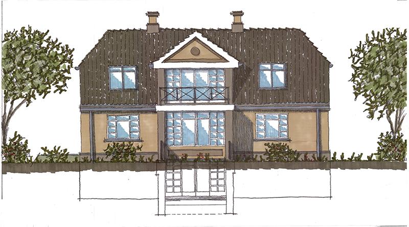 Familien Kjærgaards kommende hus, tegnet af Peter Bolther Arkitektfirma ApS.