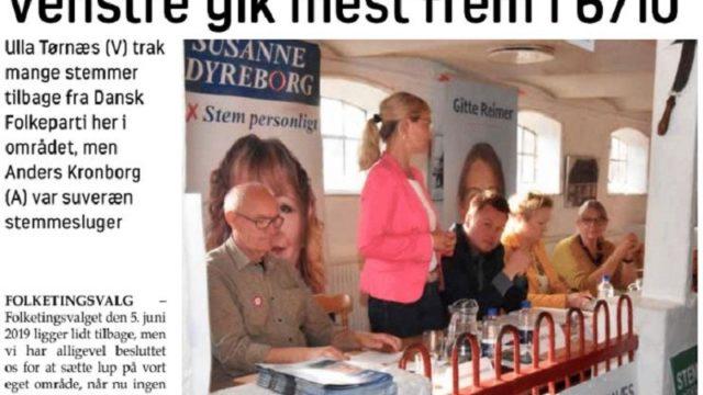 Henning Hyllested (Ø), Ulla Tørnæs (V) og Anders Kronborg (A), her på valgmødet i Jon og Dittes Hus 3. juni, blev alle tre valgt til Folketinget.