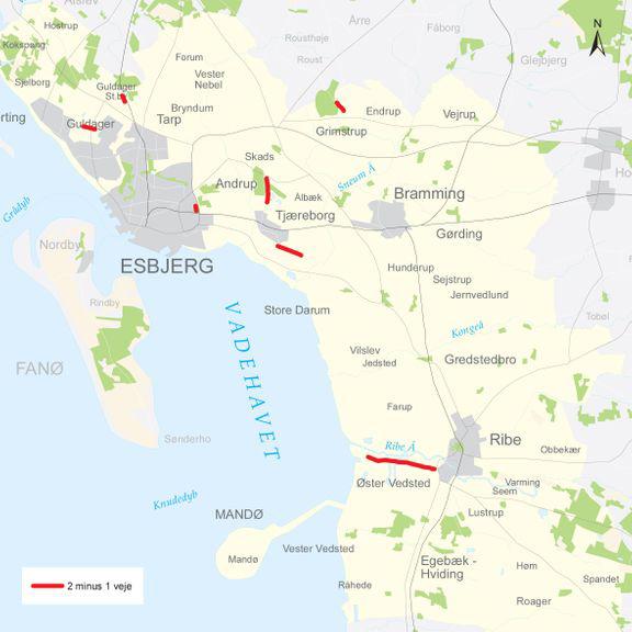 På disse to strækninger ved Guldager kommer der 2 minus 1 veje, oplyser Esbjerg Kommune. Vejene kræver ny kørsel.